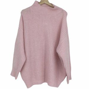 FRNCH Pink Mock Neck Knitted Oversized Sweater Size Medium/Large